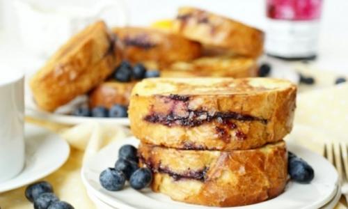 Lemon Blueberry Cream Filled French Toast